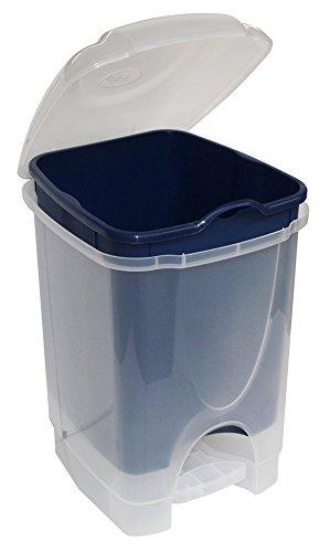 M-Home | Poubelle à Pédale / Cuisine | Plastique | Bleu | 31 x 28 x 41 cm / 16 L | BINNY DUALFACE 16 | PLS570D-26