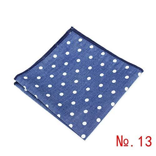 YAYANG Pañuelos de algodón de mezclilla de color sólido con estampado de flores y lunares, cuadrados, bolsillos casuales para hombre, toallas de pañuelo para boda, moda (color 13)