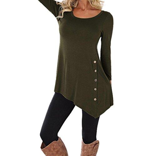 VEMOW Neueste Mode Heißer Verkauf Sommer Herbst Frauen Mädchen Casual Langarm Lose Taste Trim Bluse Einfarbig Rundhals Tunika T-Shirt (5XL, Armeegrün)