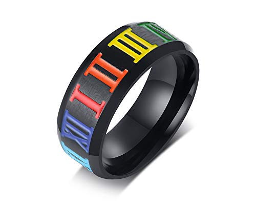 VNOX 8mm Black Stainless Steel Rainbow Roman Numerals Gay Lesbian Pride Jewellery Wedding Engagement Band Ring for Men Boys,Size N 1/2-X 1/2