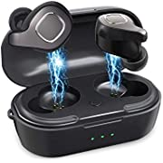 True Wireless Earbuds Bluetooth Earphones, VORCSBINE Auto Pairing Bluetooth 5.0 Headphones with Mic and Charging Case 18H Playtime- Black