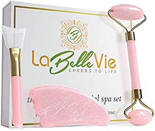 Spa Grade Jade Roller and Gua Sha facial tool Set for Face–Tones Tightens and Reduces Appearance of Wrinkles and Age Spots with 100% Real Jade and Rose Quartz – Includes Mask Brush and Drawstring Pouch