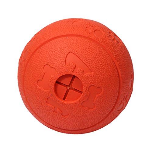 Homyl Hunde Gummiball Unkaputtbarer Hundeball Hundespielball Leckerliball mit Zahnpflege-Funktion mit Loch für große/mittlere/kleine Hunde - Rot