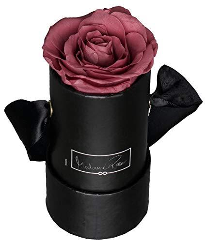 MadameRose Rosenbox rund mit 1 konservierten Altrosa/Hellviolett Rose in schwarzer Hutschachtel als Geschenk und Deko, Größe S