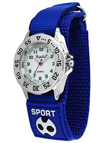 Pacific Time Reloj de pulsera para niños con correa de velcro azul, analógico, de cuarzo, 87193