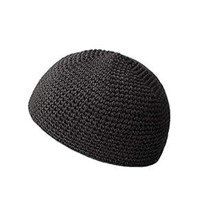 WHIPPY メンズ シームレス コットン イスラム帽 イスラムワッチキャップ 帽子 ワッチキャップ ビーニー 伸縮あり フリーサイズ メンズニット帽 (00ブラック2)
