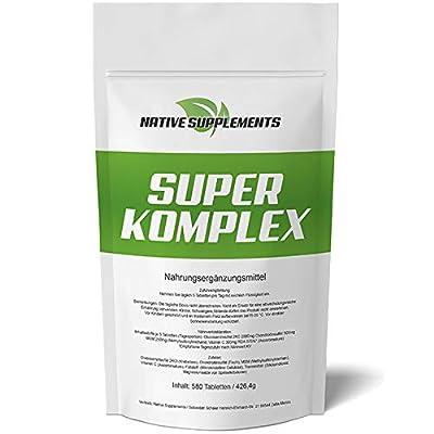 Super Komplex Glucosamin + Chondroitin + MSM + Vitamin C Kombination 580 Tabletten - XXL Bulk - 3000mg Hochdosiert Ulra Stark Bestes Nahrungsgänzungsmittel für die Osteo-Gelenkpflege
