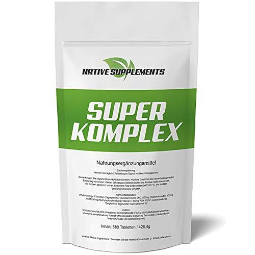 Super Complex glucosamine + chondroitine + MSM + vitamine C combinatie 580 tabletten XXL bulk Pack 3000 mg hoge dosis Ulra Sterk beste voedingsmiddelen voor de osteo-gewrichtverzorging