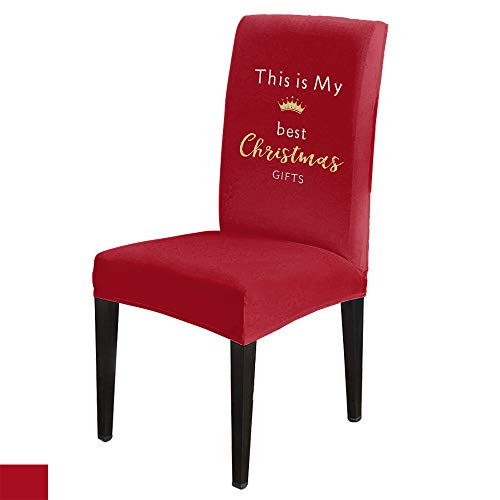 6 PCS Stretchy Dining Chair Slipcovers for Home Ceremony Banquet Wedding Party, Removable Washable Anti-Dirty Furniture Protector for Kids Pets, This is My Best Christmas Gifts on Red