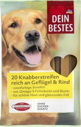 Dein Bestes Snack für Hunde, Knabberstreifen, reich an Geflügel & Rind, 200 g Ergänzungsfuttermittel