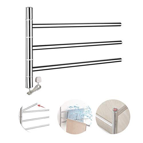 GJXJY Toalleros Electricos Bajo Consumo INOX Radiador Toallero Baño Rotación Calefactor Baño de Pared