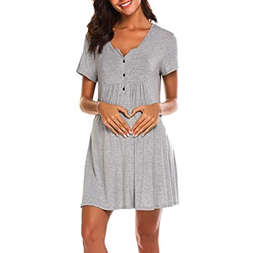 Sttech1 Nursing Dress, Women Ladies Short Sleeve Maternity Nightgown Gown for Hospital Breastfeeding Dress Gray