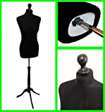 The Shopfitting Shop Schneiderpuppe/ Damenbüste, weiblich, mit dreibeinigem Standfuß aus Holz, Größe40, Schwarz
