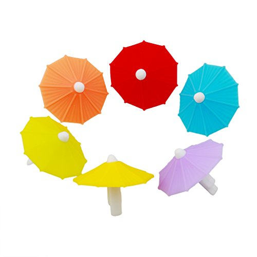 KISSFRIDAY 6pcs / Set Umbrella Drink Markers Wiederverwendbare Weinglas Drink Tags Party Supplies