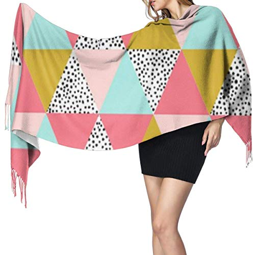 Bufanda grande para mujer, triángulo, rosa, mostaza, menta, tacto de cachemira, suave