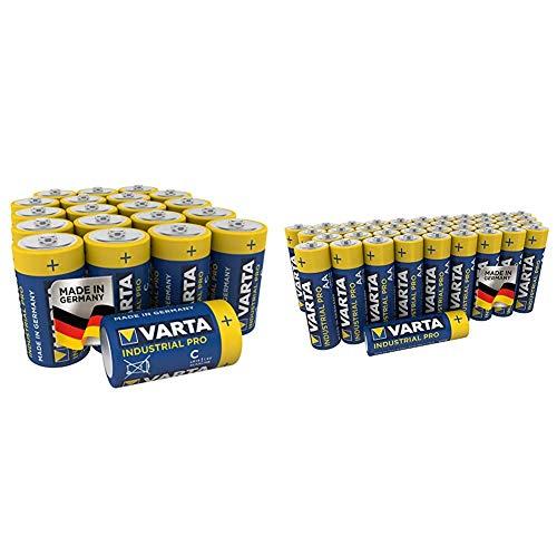 Varta Industrial Batterie (AA Mignon Alkaline Batterien LR6, umweltschonende Verpackung, 40er Pack) und Industrial Pro Batterie C Baby Alkaline Batterien LR14 (20er Pack)