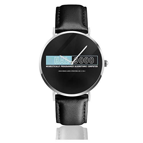 Unisex Business Casual 2001 A Space Odyssey Hal Computer-Logo-Uhr Quarzuhr Lederband schwarz für Männer und Frauen Young Collection Geschenk