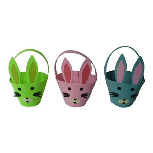 Amosfun 3 stks paashaas konijnenzakjes konijn oor zak mand kinderen vilt paaseieren gift opslag mand houder partij decoratie