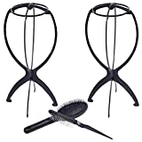 Wig Stand with Wig Brush Combo, 2 Pack Portable Collapsible Wig Dryer Holder for Wigs Display, Professional Wig Comb for Hair Finishing (Black)