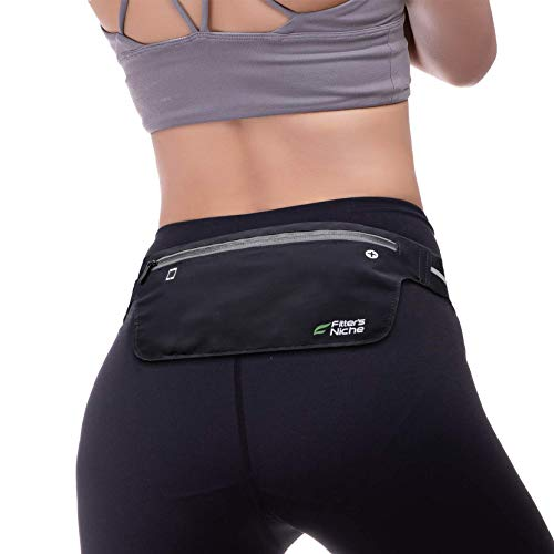 Ultra Slim Waist Fanny Packs, Fitters Niche Water Resistant Reflective Adjustable Running Elastic Belt, Fit IPhone X 8 Plus, Samsung Note 8, Idea for Cycling, Walking, Hiking, Fitness, Outdoor Sports