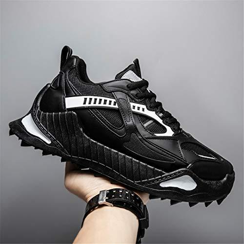 Oceansee Zapatos Deportivos para Hombre, Zapatos cómodos para Correr de Color sólido para Hombre, Zapatillas Planas de Moda para Exteriores, Calzado de Malla para Hombre, Negro 9,5