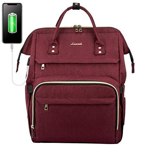 LOVEVOOK Rucksack Damen mit 17 Zoll Laptopfach, Wasserdicht Laptoprucksack Schulrucksack mit USB Ladeanschluss, Rucksack für Uni Arbeit Reise Business Weinrot