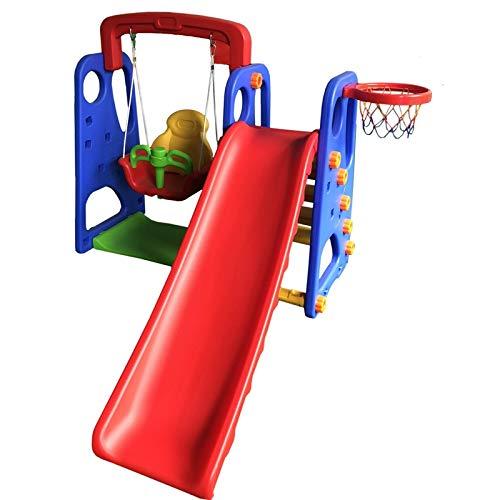 ATAA Parque Infantil 3 en 1 Parque Infantil para niños 3 en 1 (Columpio, tobogán y Canasta de Baloncesto)
