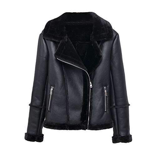 MISSMAO Jacke Damen Übergangsjacken V Ausschnitt Kleidung Mantel Fell Winterjacke Jacket Wintermantel Top Coat mit Schrägem Reißverschluss,Schwarz,M