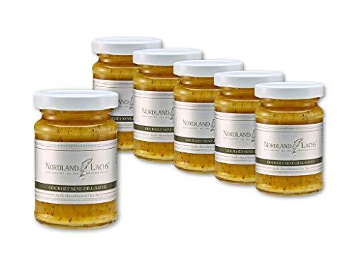 6 Gläser Nordland-Lachs Gourmet Senf-Dill-Sauce zu Räucherlachs Gravedlachs Lachsfilet
