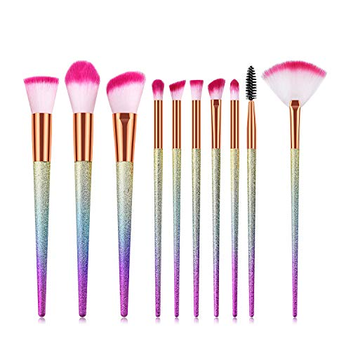Aroland 10 pièces Pinceaux Maquillage Brosse a Maquillage Cosmétique Pinceaux Kit pour Fond de Teint Ombre à Paupières Eyeliner Yeux Visage Poudre Cosmétiques de Brosse