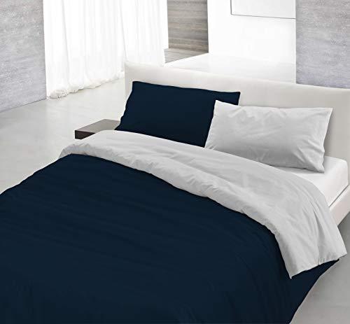 Italian Bed Linen Natural Color Parure Copri Piumino, 100% Cotone, Blu Scuro/Grigio Chiaro, Piazza E Mezza, 2 unità