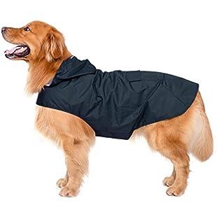 Customer reviews Dog Raincoat with Hood & Collar Hole & Safe Reflective Strips,Ultra-Light Breathable 100% Waterproof Rain Jacket by Zellar for Medium Large breed Dog