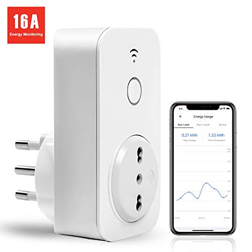 Presa Wifi Italiana 16A 3680W Smart Plug Intelligente Spina Energy Monitor, Funzione Timer, APP Controllo Remoto, Compatibile con SmartThings, Amazon Alexa, Google Assistant e IFTTT