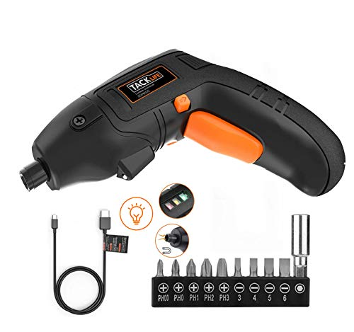 Electric Screwdriver, 4V Max Cordless Screwdriver Rechargeable with Micro USB, Front LED Light, 10 pcs Screwdriver Bits, 3 Battery Indicator, Compact...