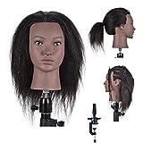 Cabeza de maniquí de peluquería femenina afro 100% pelo real cabeza de entrenamiento de 45,7 cm para entrenamiento de belleza y peluquería (soporte de abrazadera de mesa incluido)