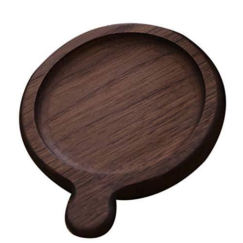 1 * Posavasos de Madera para Bebidas - Posavasos Redondo con asa, tapetes para Taza de café, té, Cerveza, Oficina, 11.5x9.5x1.4cm
