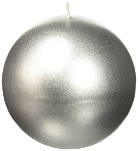 Zest Candle 2-Piece Ball Candles, 4-Inch, Metallic Silver