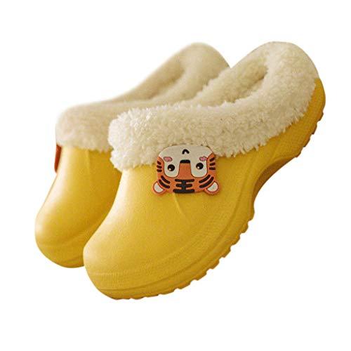 95sCloud Baby Jungen Madchen Warm Gefüttert Clogs Pantoffel Hausschuhe Schuhe Gartenschuhe Kinder Girl Boy Hausschuhe gefüttert Slipper Plüsch Schlappen Slippers Gummi Schuhe Shoes (Gelb, 2.5-3.5Y)