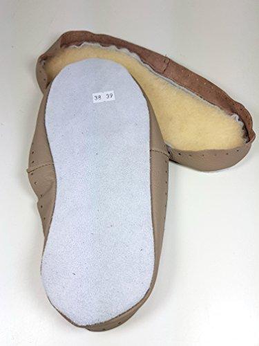 manid Hüttenschuh Sohlen Beige, mit Felleinlage, versch Größen, aus Leder mit Strickanleitung (34/35)
