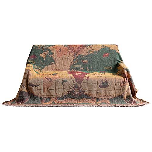 Yuehuam Manta estilo retro étnico vintage floral de algodón funda lavable a máquina para sofá cama silla