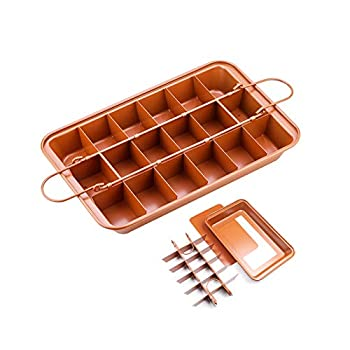 Brownie Pan Non Stick Brownie Pans with Dividers High Carbon Steel Precut Brownie Baking Pan 18 Pre-slice Brownie Baking Tray for Oven Baking Square Baking Pan with Built-in Slicer 12x8x2 inch