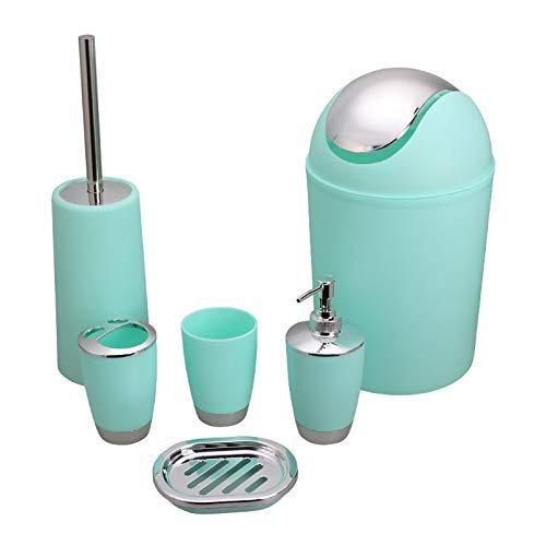 besaset Bathroom Accessories Set 6 Pieces Plastic Bathroom Accessories Toothbrush Holder, Rinse Cup, Soap Dish, Hand Sanitizer Bottle, Waste Bin, Toilet Brush with Holder (Y-004-MINT)