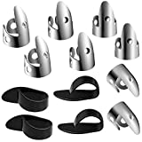 12 Pieces Steel Finger Picks Set, Including Stainless Steel Finger Picks and Thumb Picks, Metal Finger Picks Adjustable Bass Finger Picks...