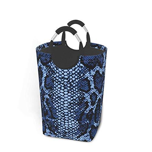 NOBRAND Cesta de lavandería Grande, Alta, de Piel de Serpiente Azul, cestas de lavandería Plegables con Asas de Aluminio, Cesta de Almacenamiento, Cesta de Ropa