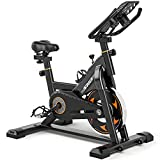 SND Indoor Cycling Bike Stationary - Exercise Bike for Home Cardio Gym, Workout Bike with Comfortable Seat Cushion, Silent Belt Drive, iPad Holder
