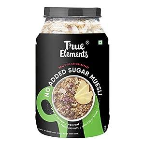 True Elements Muesli Sugar Free 1kg - Breakfast Cereal, Diet Food, No Added Sugar 15 410HVfQm2iL. SS300