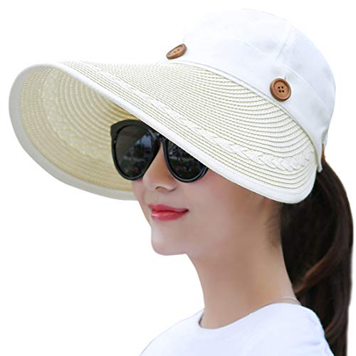 Muryobao Women's Wide Brim Floppy Hat Packable Straw Sun Caps Summer UV...