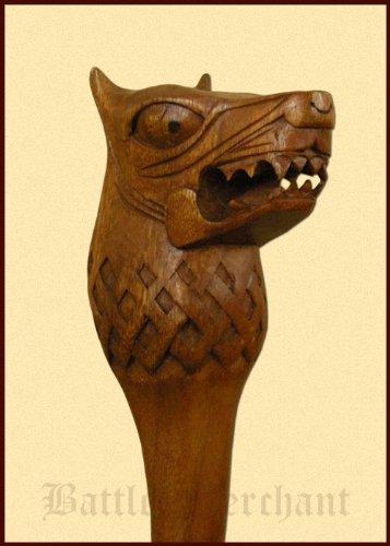 Battle-Merchant Holzstab mit Fenriswolf, handgeschnitzt, ca. 130 cm Wanderstab Mittelalter Wikinger