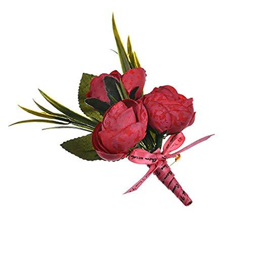 Meiibo 1 Stks Kunstmatige Rozen Boutonniere met Lint Echte Touch Corsage Bruiloft Simulatie Pak Bloemen voor Bruidegom Bruid Bruidsmeisje Groomsmen 4.5cm Wijn Rood