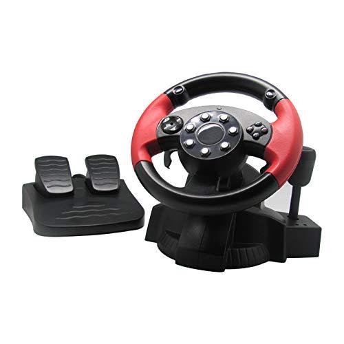 WRISCG Volante de Carreras con Pedales, paletas y Palanca de Cambios, Ángulo de rotación de 200 Grados, Motor De Vibración Dual, Pedal de señal analógica Lineal, para PS3 PS2 PC